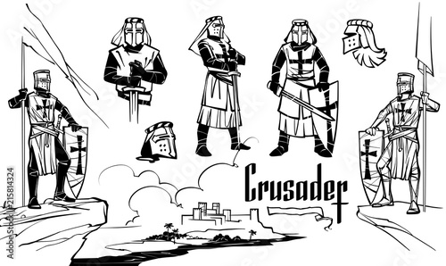 Fotomural Knights of the Crusaders in various poses