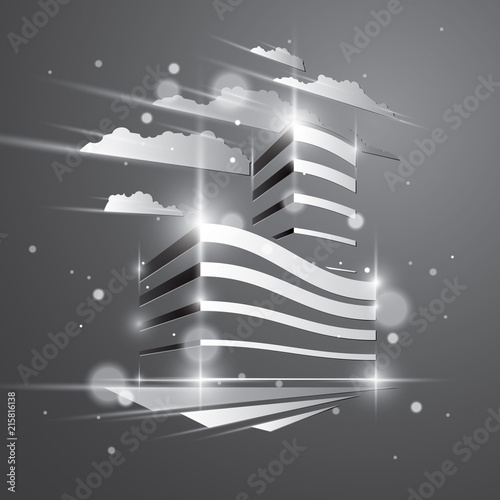 Office building, modern architecture vector illustration with blurred lights and glares effect. Real estate realty business center grey monochrome design. 3D futuristic facade in big city.