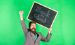 canvas print picture - Offer for teachers and educators. Special offer discount and sale school season. Man bearded teacher holds blackboard back to school inscription on green background. Back to school special offer