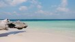 Ungraded clip of a beautiful beach with clear pristine blue turquoise water, white sand, gentle waves, and a tree trunk on the left side of the screen