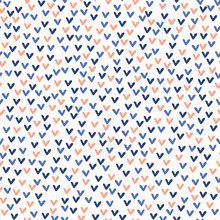 Ditsy Doodle Love Hearts Vector Pattern, Modern Seamless Background, Hand Drawn Heart Illustration For Wedding Invitation, New Baby Scrapbook, Valentines Day & Pretty I Love You Stationery Blue Orange