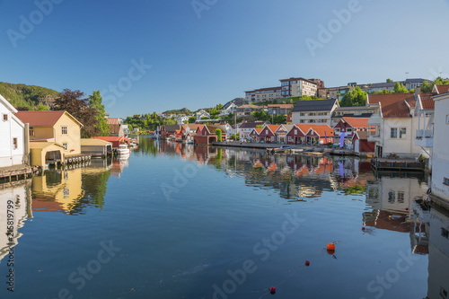 Printed kitchen splashbacks City on the water Flekkefjord reflections in the water in its little harbor