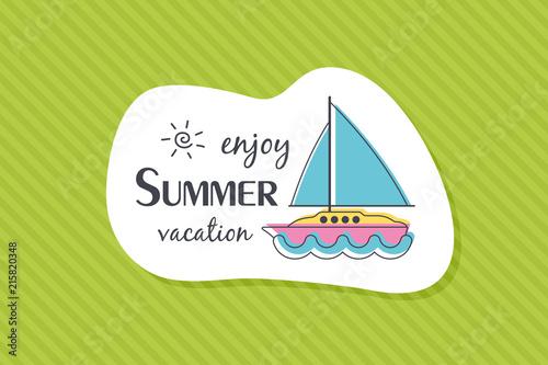 Summer poster card. Enjoy summer vacation © nasik