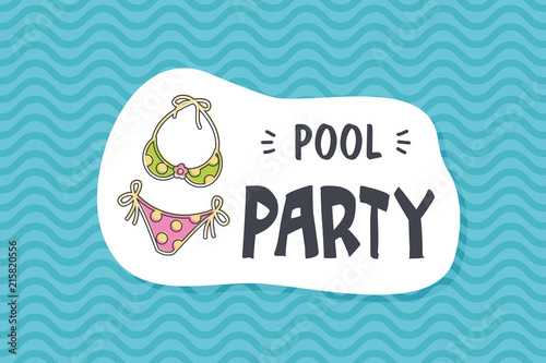 Summer poster card. Pool party © nasik