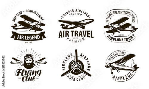 aircraft, airplane logo or label Canvas Print
