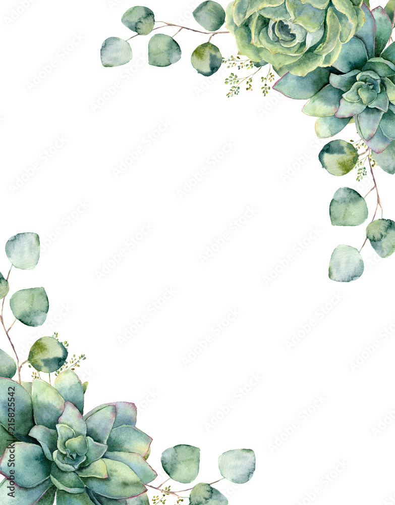 Fototapeta Watercolor card with exotic bouquet. Hand painted eucalyptus branch and leaves, green succulents isolated on white background. Floral botanical illustration for design, print or background.