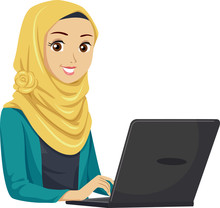 Teen Girl Muslim Laptop Illustration