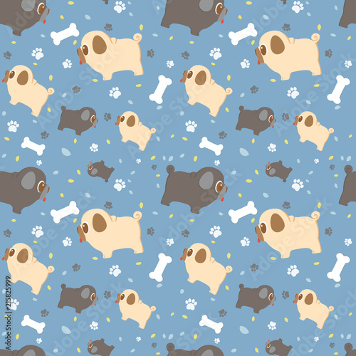 Vector Seamless Pattern With Cute Cartoon Dog Breed Pug Paws Leaves And Bones