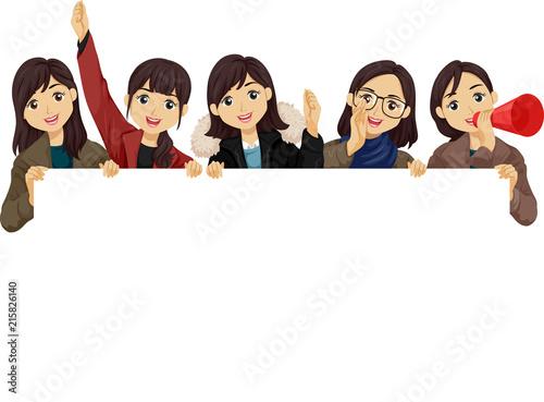 Teen Girls Students Cheer Illustration Canvas-taulu