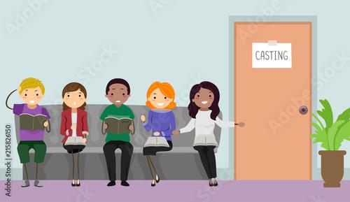 Fototapeta Stickman Teens Casting Call Illustration obraz