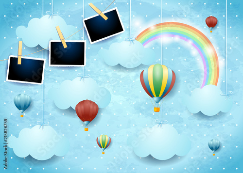 Surreal Sky With Hot Air Balloons And Photo Frames Buy This Stock