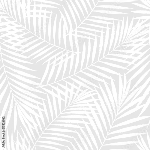fototapeta na lodówkę Summer tropical palm tree leaves seamless pattern. Vector grunge design for cards, web, backgrounds and natural product