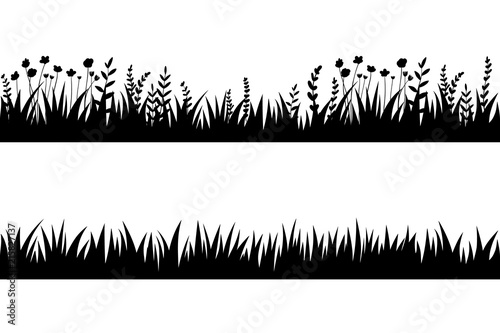 Fototapeten Künstlich Vector black grass: natural, organic, bio, eco label and shape on white background. Seamless brush, pattern