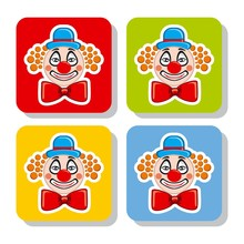 Vector Illustration Icons Clown