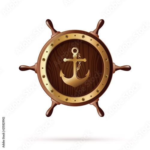 Photo Anchor image on a wooden steering wheel