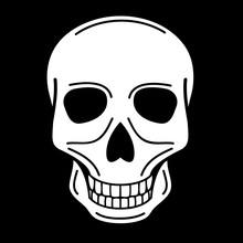 Vector Illustration Of Human Skull On Black Background