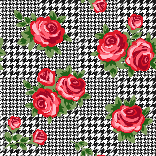 vector houndstooth seamless black and white pattern with red retro roses Canvas Print