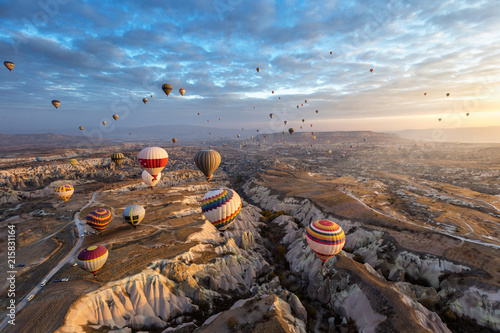 Tuinposter Cappuccino Wonderful landscape in Cappadocia , Turkey