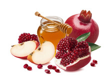 Red Apple, Pomegranate And Honey Jar For Jewish New Year