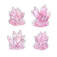 Hand Painted Watercolor And Ink Set Of Pink Crystal Clusters Iso