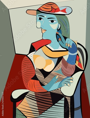 Colorful abstract background, cubism art style, woman with hat