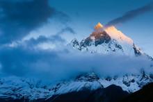 Machapuchare Peak Of Annapurna Range At Sunset