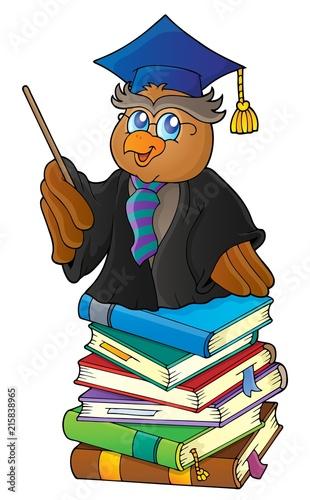 Foto op Plexiglas Voor kinderen Owl teacher on stack of books theme 1