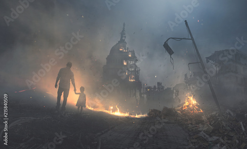 Capitol building in flames Fototapet