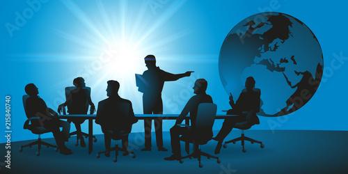Fototapeta réunion - entreprise - international - commerce - monde - globe - présentation - marché obraz