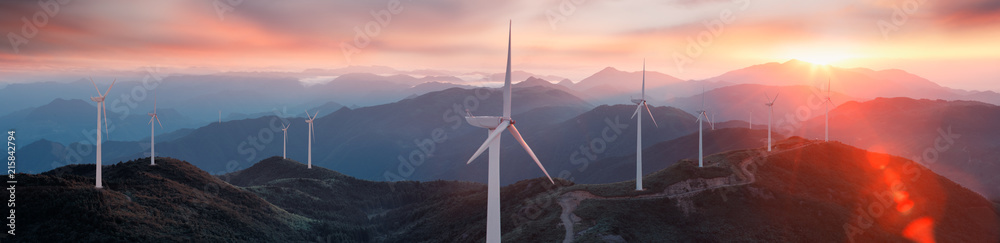Fototapety, obrazy: Wind turbines on the mountain