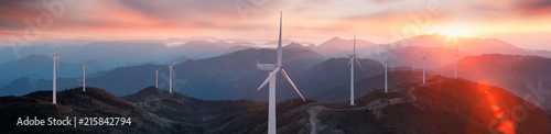 Obraz Wind turbines on the mountain - fototapety do salonu