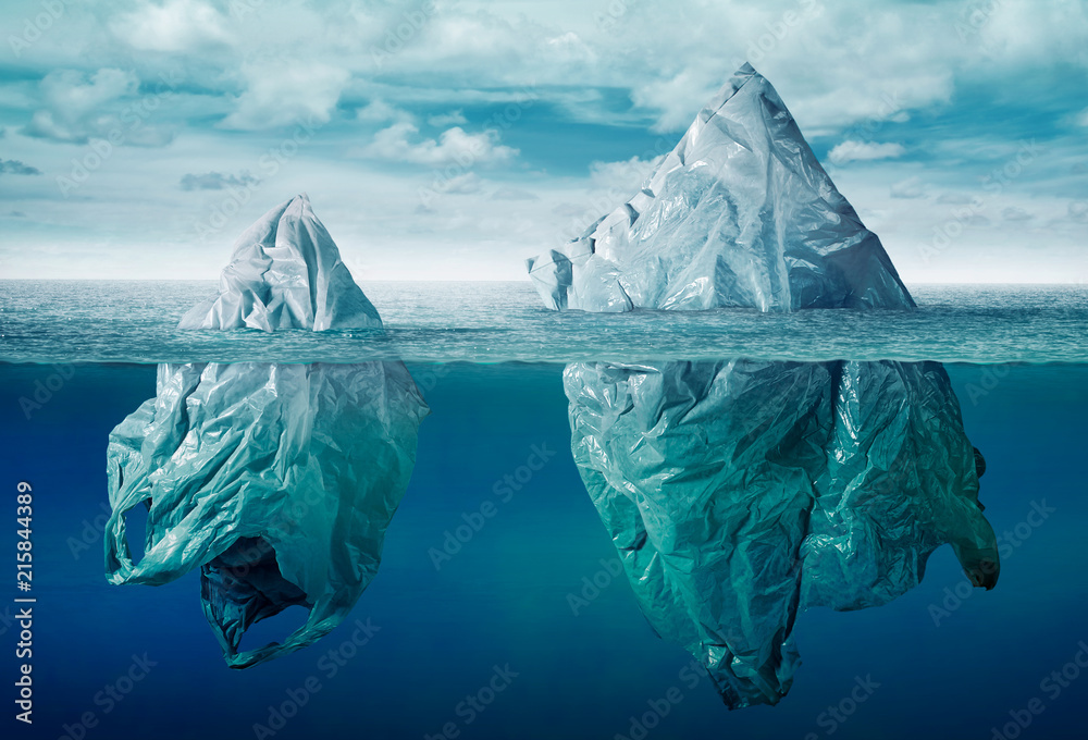 Fototapeta plastic bag environment pollution with iceberg of trash
