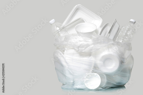 Group of Products made of plastic and foam in garbage bags