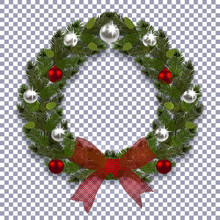 Christmas, New Year. Green Branch Of Spruce In The Form Of A Christmas Wreath With Shadow. Red Bow, Silver And Red Balls On The Background Transparent. Illustration