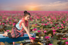 Beautiful Woman Are Sitting On Boat In Lotus Garden.