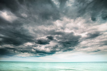 Storm Clouds Above The Sea, Thunderstorm Clouds Over The Ocean