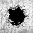 Dark cracked broken wall in concrete wall. Grunge background