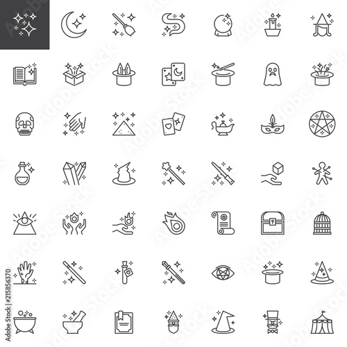 Magic Elements Outline Icons Set Linear Style Symbols Collection