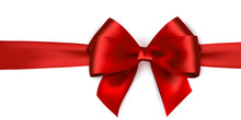 Shiny Red Satin Ribbon On White Background. Vector Bow And Red Ribbon.