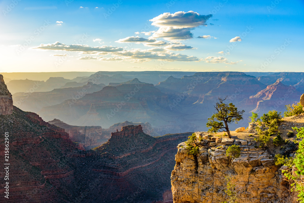 Amazing Landscape scenery at sunset from South Rim of Grand Canyon National Park, Arizona, United States