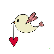 Valentines Day Card With Love Bird Carrying Heart