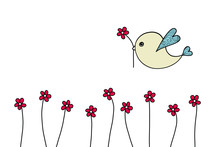 Mothers Day Card With Bird Carrying Flower