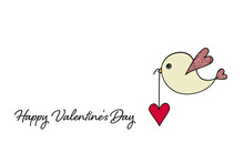Valentines Day Card With Bird Carrying Heart