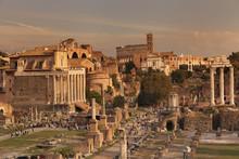 Roman Forum (Foro Romano), Colosseum Behind, Rome, Lazio