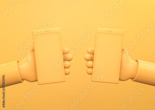 Tela Manos conectadas con teléfonos smartphone