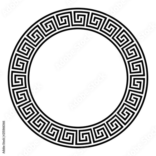 Circle frame with seamless disconnected meander pattern Fototapeta