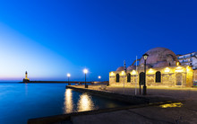Lighthouse At Venetian Port And Turkish Mosque Hassan Pasha At Night, Chania, Crete, Greek Islands, Greece