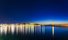 Panoramic View Of The Venetian Harbour At Night, Chania, Crete, Greek Islands, Greece