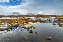 Scenic View Of Mountains And Frozen Water Near Bridge Of Orchy, Highlands, Argyll And Bute, Scotland