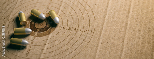 Tela Bullets on shooting target, recycling carton paper, banner, copy space